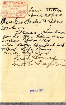 Letter to George Foster and Sons from George E. Taylor