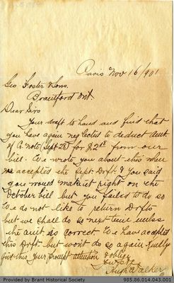 Letter to George Foster and Sons from Hugh Walker