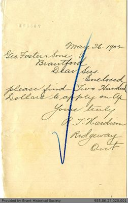 Letter to George Foster and Sons from Henstock and Massey