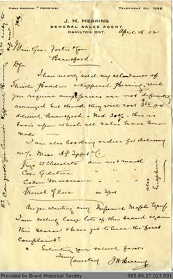 Letter to George Foster and Sons from J. W. Hillborn