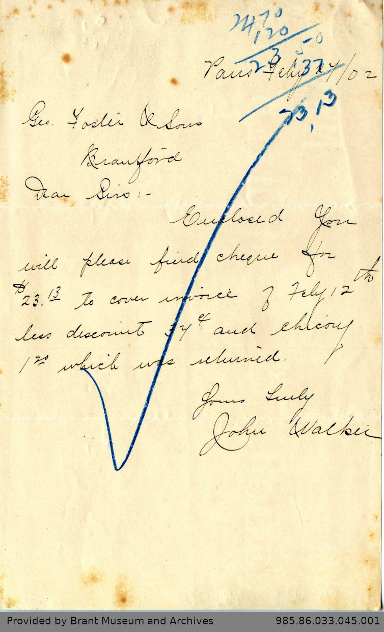 Letter to George Foster and Sons from John Walker