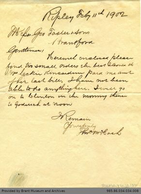 Letter to George Foster and Sons from Thomas McCosh