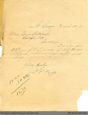 Letter to George Foster and Sons from C.P. Keefer
