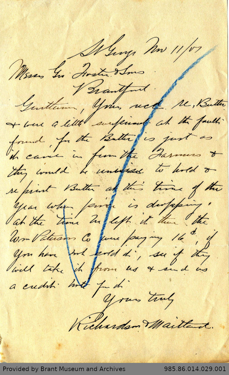 Letter to George Foster and Sons from Richardson & Maitland
