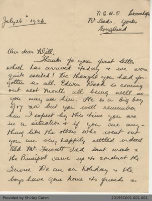 Letter to William Clarke from Sister Nancie of National Children's Home and Orphanage