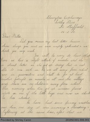 Letter to William Clarke from Elizabeth Clarke