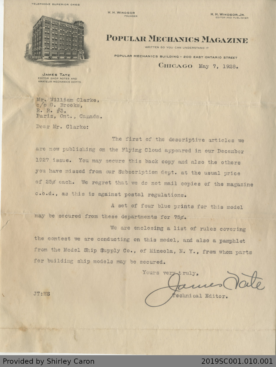 Letter to William Clarke from James Tate