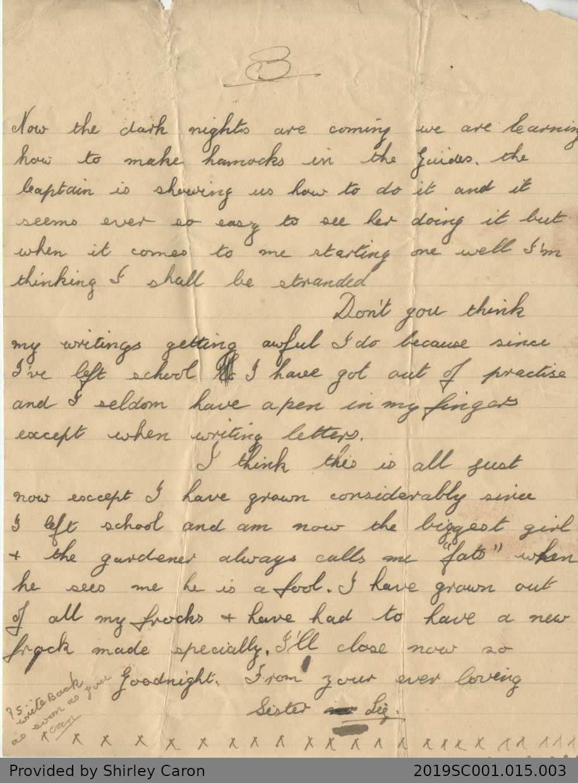 Letter to William Clarke from Elizabeth Clarke
