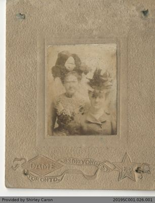 Framed Photograph of Two Women in a Studio