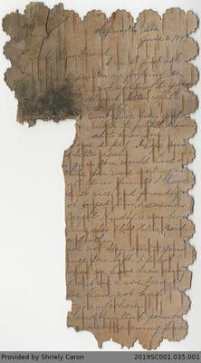 Birch Bark Letter from Lizzie Eldridge