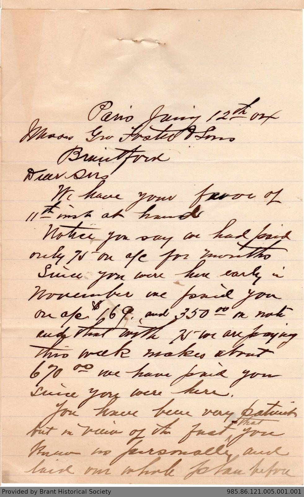 Letter to George Foster and Sons from Matthews and Rehder