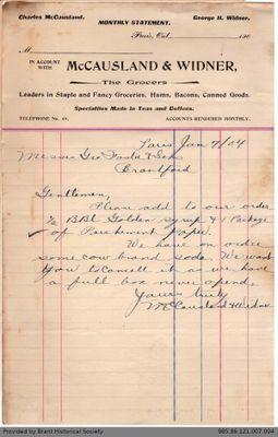 Letter to George Foster and Sons from McCausland & Widner
