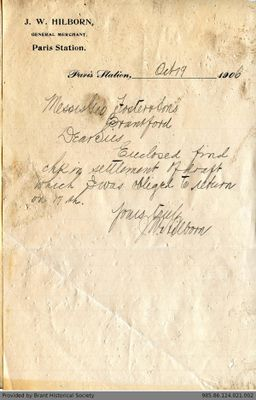 Letter to George Foster and Sons from J.W. Hilborn