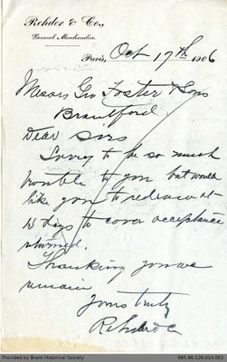 Letter to George Foster and Sons from Rehder