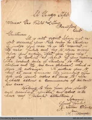 Letter to George Foster & Sons from J. Sutton Clark
