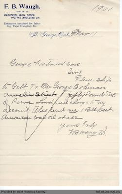 Letter to George Foster & Sons from F. Walker