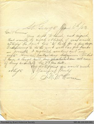 Letter to George Foster & Sons from J.M. McEwen
