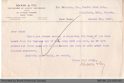 Letter to George Foster and Sons from Moos & Co