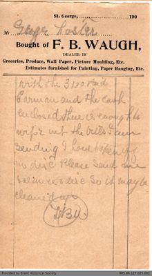 Letter to George Foster & Sons from F.B. Waugh