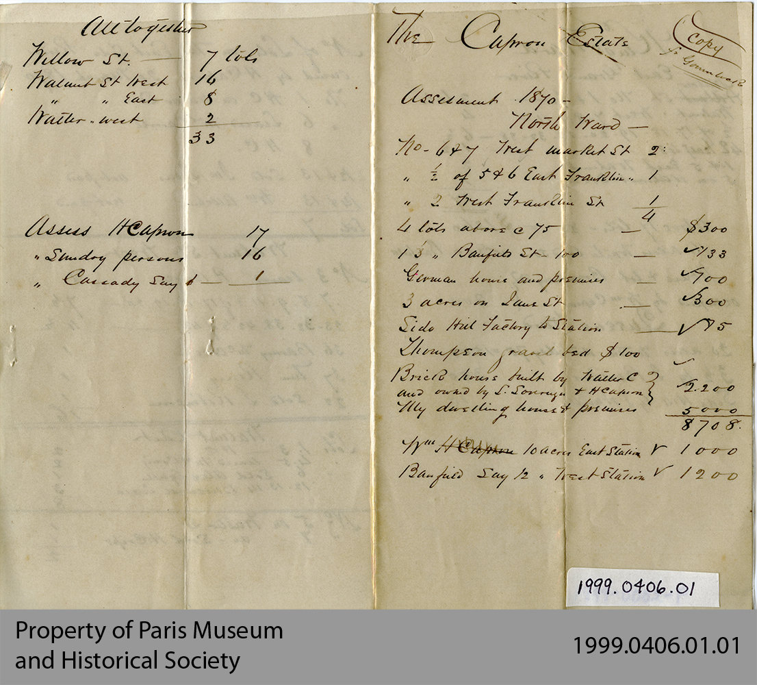 Assessment of Capron Estate, 1870
