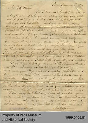 Letter From Hiram Capron to his Son-in-Law, J.A. Brown, Concerning Debt