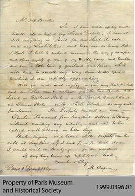Letter From Hiram Capron concerning Land Sales