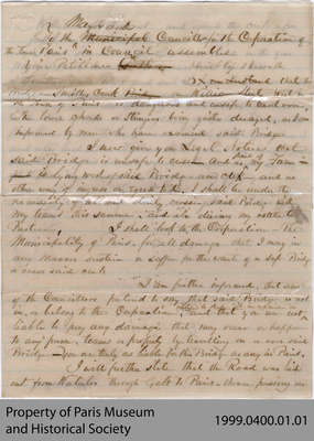 1867 Rough Draft of Letter from Hiram Capron Protesting the Deterioration of the William Street Bridge