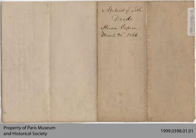 Abstract of Title Deeds to Hiram Capron's Properties, 1866