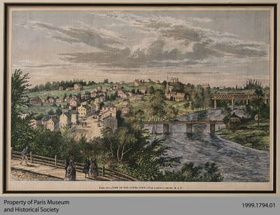 Colourized Lithograph View of the Lower Town, c. 1870s
