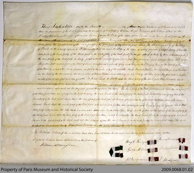 Land Indenture Between Hugh Finlayson, George McVicar, James Montgomery and the Municipality of the Village of Paris