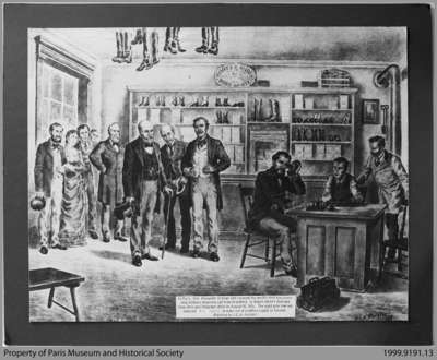 Painting of Alexander Graham Bell Receiving First Long-Distance Telephone Call in Paris, Ontario