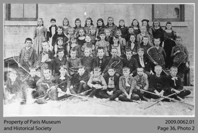 Elementary School Class with Lacrosse Sticks, c. 1890