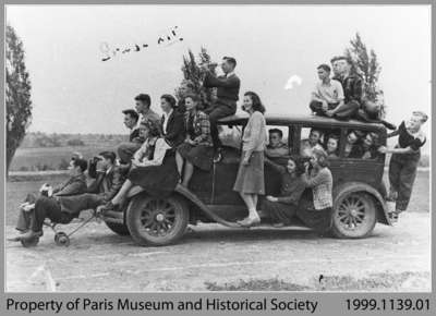 Paris High School Grade 12 Class Touring School Grounds by Car, 1941