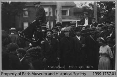 Paris's First Seven World War I Volunteers about to leave for Brantford, 1914