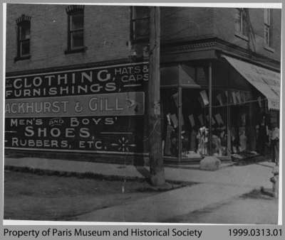 Fred Blackhurst's Store at Corner of Mechanic & Grand River, c. 1914