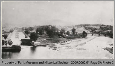 View of Grand River with Willow Street raceway and Grand River dam, c. 1860
