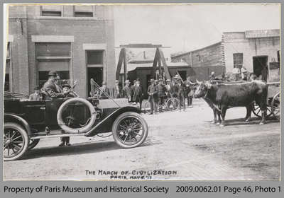 """The March of Civilization"" - Car Meeting Ox-Cart on the Street, Paris, 1913"