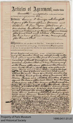 Land Agreement between Executors of Hiram Capron's Estate and John Penman