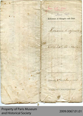 Land Indenture between Hiram Capron and Robert Fisher, 1845