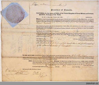 Land Indenture between Robert Rosebrugh and the Department of Indian Affairs, 1847