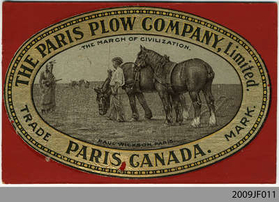 Paris Plow Company Advertising Card