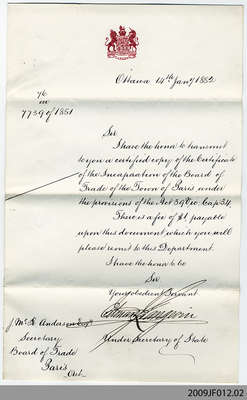 Letter Accompanying Certificate of Association for Paris Board of Trade, 1881