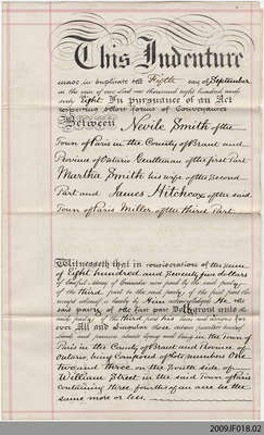 Deed between Neville Smith and James Hitchcox