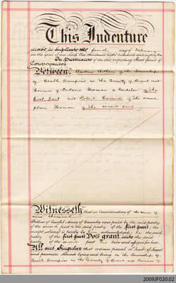 Land Indenture between Andrew Aitken and Robert Carrick, South Dumfries, 1882