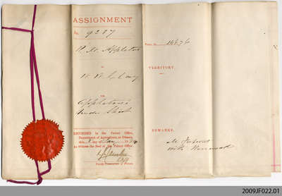Patent assignment from Robert M. Appleton to William W. Clay, 1883