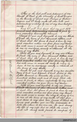 Copy of Last Will and Testament of Daniel O'Neail, South Dumfries Township, 1883