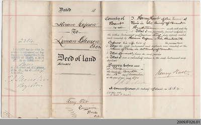 Land Indenture between Hiram Capron and Lyman Gleason, 1870