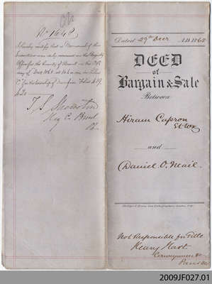 Land Indenture between Hiram Capron and Daniel O'Neail, 1865