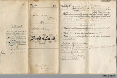 Land Deed between John Irwin and William Key, 1880