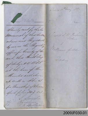 Land Deed between David Somerville Ranaldson Dickson and William Geddie, 1855